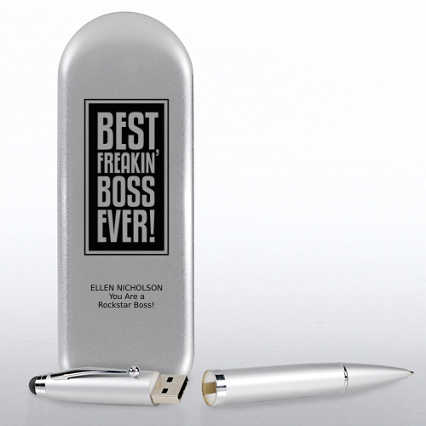 Silver USB Pen with Tin - BOSS